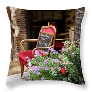 A French Restaurant Greeting Throw Pillow by Lainie Wrightson