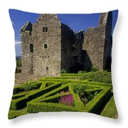 A Garden In Front Of Tully Castle Near Throw Pillow by The Irish Image Collection