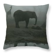 A Giraffe And Elephant Live In The Same Throw Pillow by Michael Nichols