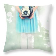 A Girl And Her Camera Throw Pillow by Stephanie Frey
