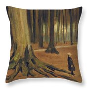 A Girl in a Wood Throw Pillow by Vincent van Gogh