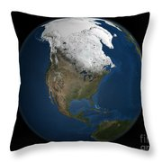 A Global View Over North America Throw Pillow by Stocktrek Images