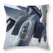 A Kc-135 Stratotanker Refuels An F-15e Throw Pillow by Stocktrek Images