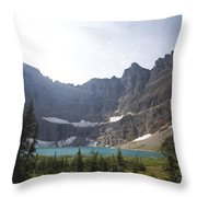 A Landscape Image Of Iceberg Lake Throw Pillow by Michael Hanson