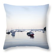A Large Group Of Boats Float In A Maine Throw Pillow by Hannele Lahti