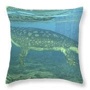 A Late Devonian Period Ichthyostega Throw Pillow by Walter Myers