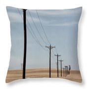 A Line Of Telephone Poles Travels Throw Pillow by George Grall