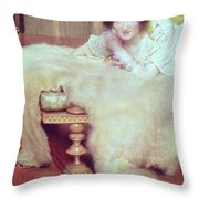 A Listener - The Bear Rug Throw Pillow by Sir Lawrence Alma-Tadema