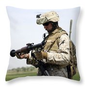 A Marine Looks At A Brand New Throw Pillow by Stocktrek Images