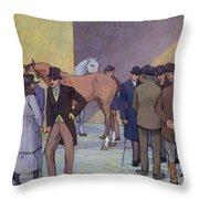 A Morning At Tattersall's Throw Pillow by Robert Polhill Bevan