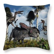 A Pair Of Velociraptors Attack A Lone Throw Pillow by Mark Stevenson