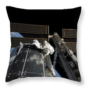 A Panoramic View Of The International Throw Pillow by Stocktrek Images
