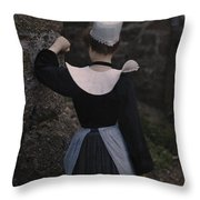 A Photograph Of A Woman In Traditional Throw Pillow by Gervais Courtellemont
