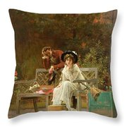 A Prior Attachment Throw Pillow by Marcus Stone