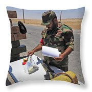 A Rebel Collects His Food Ration Throw Pillow by Andrew Chittock