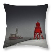 A Red Lighthouse Along The Coast In Throw Pillow by John Short