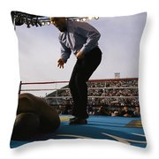 A Referee Counts Out A Fallen Boxer Throw Pillow by Maria Stenzel