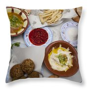 A Restaurant In The Old Part Throw Pillow by Taylor S. Kennedy