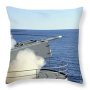 A Rim-7 Sea Sparrow Is Launched Throw Pillow by Stocktrek Images