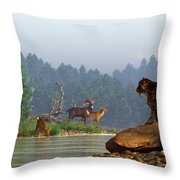 A Saber-tooth Hunting Deer Throw Pillow by Daniel Eskridge