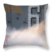 A Sailor Collects Samples Of Aqueous Throw Pillow by Stocktrek Images