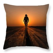 A Sailor Walks The Catapults Throw Pillow by Stocktrek Images
