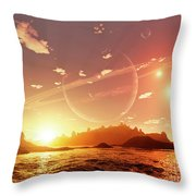 A Scene On A Distant Moon Orbiting Throw Pillow by Brian Christensen