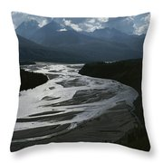 A Scenic View Of The Matanuska River Throw Pillow by George F. Herben