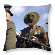 A Senior Drill Instructor Inspects Throw Pillow by Stocktrek Images