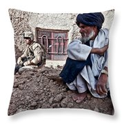 A Soldier Collects Information Throw Pillow by Stocktrek Images