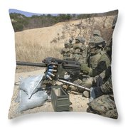 A Soldier Fires A Mk19 40mm Heavy Throw Pillow by Stocktrek Images