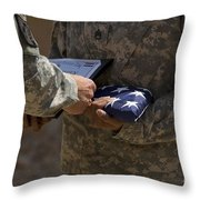 A Soldier Is Presented The American Throw Pillow by Stocktrek Images