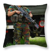 A Soldier Of An Infantry Unit Throw Pillow by Luc De Jaeger