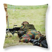 A Soldier Of The Belgian Army On Guard Throw Pillow by Luc De Jaeger