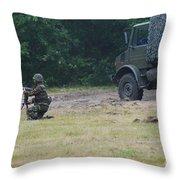 A Soldier Of The Belgian Artillery Unit Throw Pillow by Luc De Jaeger
