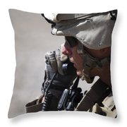 A Squad Leader Puts His Marines Throw Pillow by Stocktrek Images