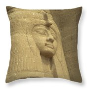 A Statue Of Nefertari At The Entrance Throw Pillow by Richard Nowitz
