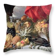 A Still Life of Game Birds and Numerous Fruits Throw Pillow by William Duffield