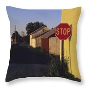 A Stop Sign In A Rural Alley Throw Pillow by Raymond Gehman