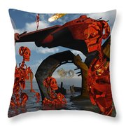 A Team Of Androids Break Down Objects Throw Pillow by Mark Stevenson