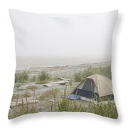 A Tent Sits In The Dunes By The Beach Throw Pillow by Taylor S. Kennedy