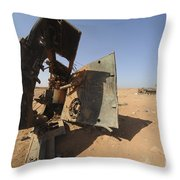 A Tracked Artillery Vehicle Destroyed Throw Pillow by Andrew Chittock