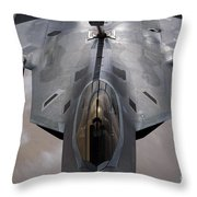 A U.s. Air Force F-22 Raptor Throw Pillow by Stocktrek Images