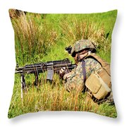 A U.s. Army Soldier Training Throw Pillow by Andrew Chittock