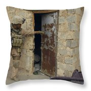 A U.s. Marine Searching Throw Pillow by Stocktrek Images