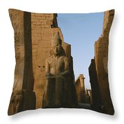 A View Of Luxor Temple Throw Pillow by Kenneth Garrett