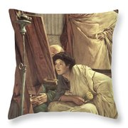 A Visit to the Studio Throw Pillow by Sir Lawrence Alma-Tadema