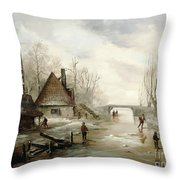 A Winter Landscape With Figures Skating Throw Pillow by Dutch School