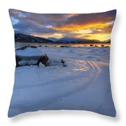 A Winter Sunset Over Tjeldsundet Throw Pillow by Arild Heitmann