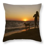 A Woman And Her Dog Running Throw Pillow by Skip Brown